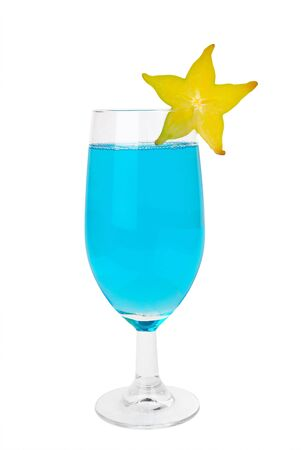 garish: Blue cocktail with a star fruit garish isolated on white