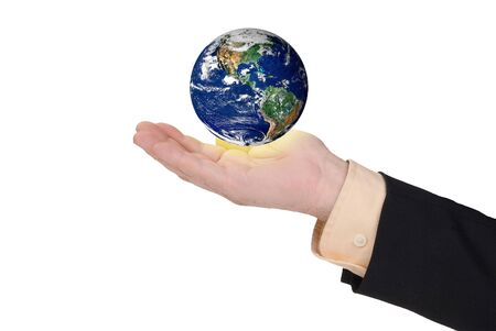 Business man holding earth in his hand isolated on white photo