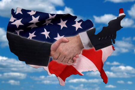 An photo illustration of the USA with a flag and business handshake over blurred cloudy sky background illustration