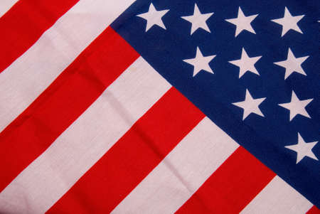 anthem: Close up of flag of the United States of America with folds and wrinkles Stock Photo