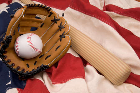 hardball: Baseball bat, ball and glove isolated on a flag background Stock Photo