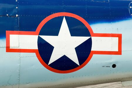 cropped out: US Airforce Insignia on Fusalodge of Plane with plane cropped out