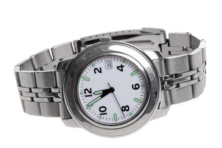 mans watch: Mans de acero inoxidable reloj de pulsera aisladas en blanco  Foto de archivo