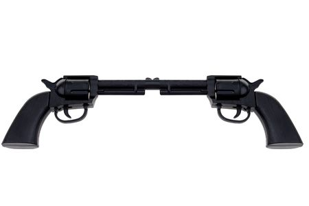 Black Toy hand guns connected at barrel isolated over white Imagens