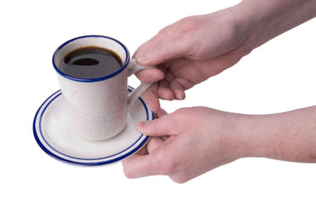 musetti: cup of coffee being picked up by a womans hands isolated on white background