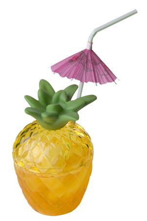 pineapple  glass: Cocktail in pineapple glass with umbrella