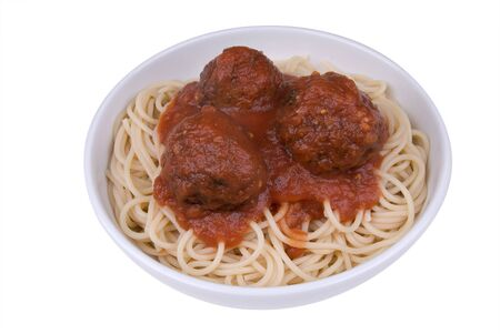 Spaghetti and meatballs with tomato sauce in a bowl photo