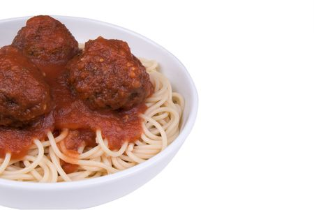 Spaghetti and meatballs with tomato sauce in a bowl Stock Photo - 2133872