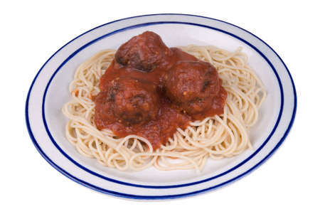 Spaghetti and meatballs with tomato sauce on a plate Stock Photo - 2133888
