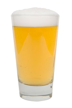 Glass of light beer with froth