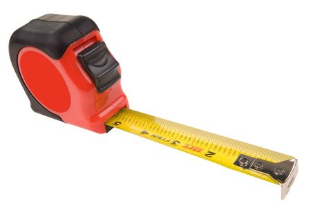 reviewing: tape measure over white