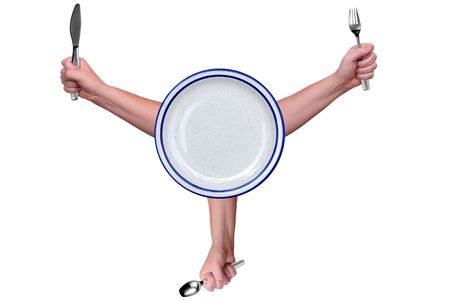 held: Fork,knife and spoon held by a womans hands isolated over white