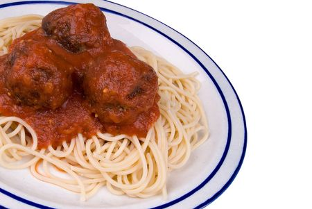 Spaghetti and meatballs with tomato sauce on a plate Stock Photo - 2133907
