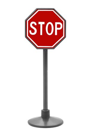 Stop sign toy isolated over a white background Stok Fotoğraf