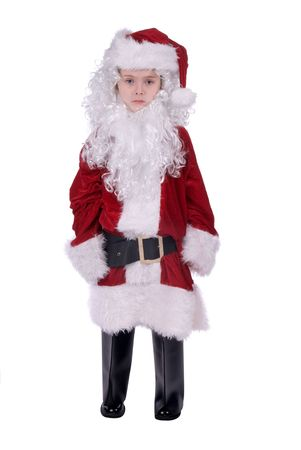 baggy: Young sad Boy wearing a  baggy Santa Claus suit holding gifts isolated over white