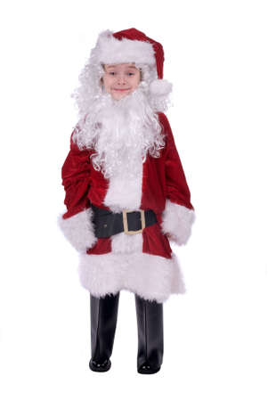 baggy: Young Boy wearing a  baggy Santa Claus suit holding gifts isolated over white