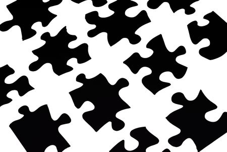 black puzzle pieces over white Stock Photo - 2135034