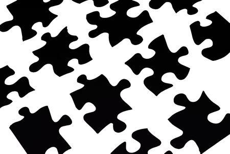 black puzzle pieces over white Stock Photo - 2135034