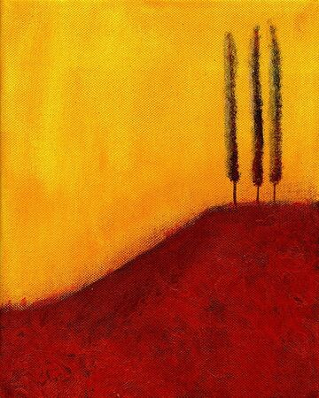 This is an abstract painting of trees on a hill.