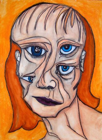 introspective: This is a photo of an abstract acrylic painting (an illustration) of a womans face.