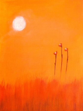 This is an abstract Painting of a red flower and the sun