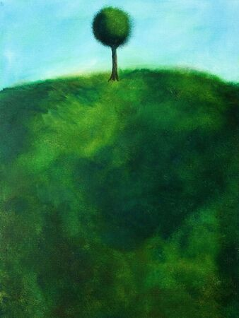 This is an abstract painting of a tree on a hill.                                 Reklamní fotografie