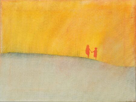 barren: This is a photo of an acrylic painting (an illustration) of two children, a modern day Jack and Jill, walking through a barren field. It is meant to illustrate a feeling of isolation. Stock Photo