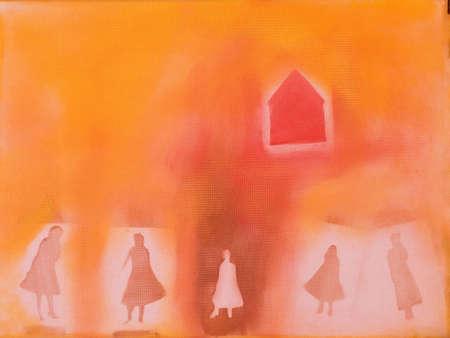 これはアクリルの絵画 (イラスト) 女性と家の写真です。