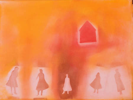 This is a photo of an acrylic painting (an illustration) women and a house.  Stock fotó
