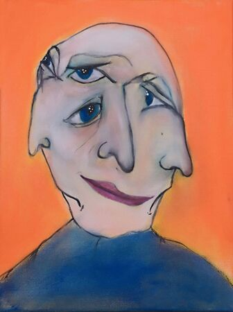 This is a photo of an abstract acrylic painting (an illustration) of a womens face.