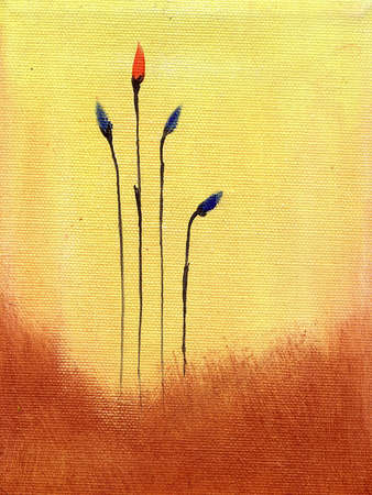 unoccupied: This is an abstract Painting of blue and red flowers                                 Stock Photo
