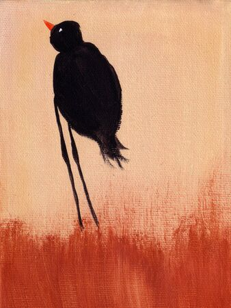 This is an abstract painting of bird. photo