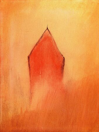 signifier: This is an abstract painting of a little red house.