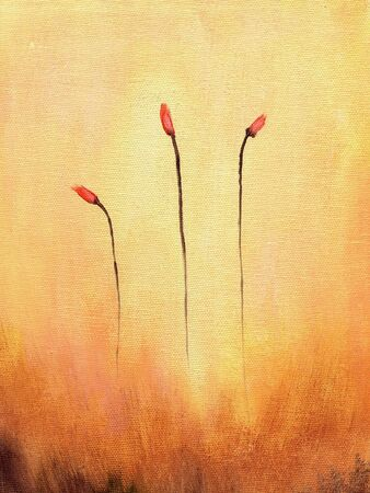unoccupied: This is an abstract painting of red flowers.                                 Stock Photo