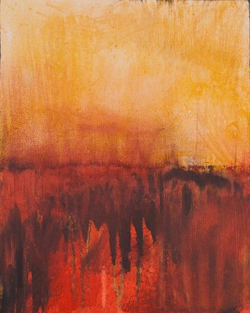 This is a photo of an abstract acrylic painting of a sunset or sunrise Фото со стока