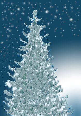 Blue Christmas Tree at night with glowing horizon photo