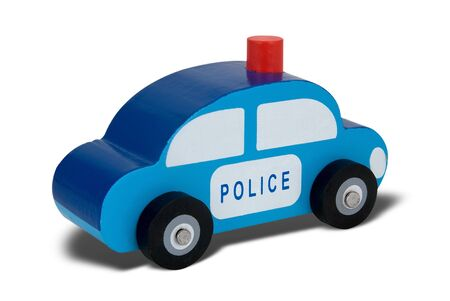 Blue wooden toy police car Stock Photo