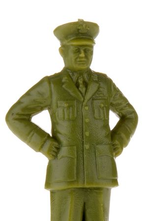 green plastic soldiers: plastic toy army officer or General isolated over white Stock Photo