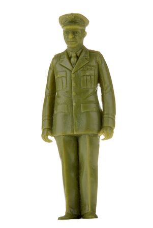 plastic toy army officer or General isolated over white Stock Photo