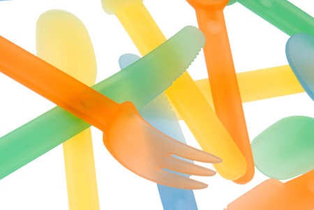 Abstract of plastic summer tableware photo