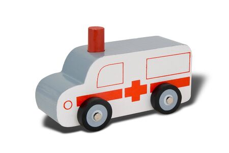 Toy wood ambulance isolated over white