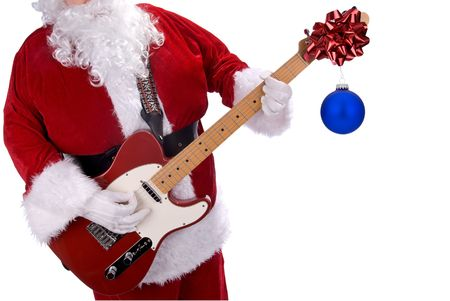 Santa Claus playing a red electric guitar with christmas ornament hanging on it isolated over white Reklamní fotografie - 2252322