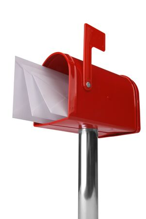 A standard red mailbox with mail and flag isolated over white Reklamní fotografie - 2323927