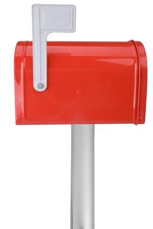 A standard red mailbox with a flag over a white background Stock Photo - 2375562