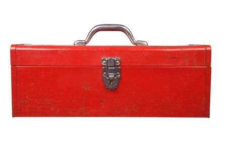 Old used red toolbox over a white background Reklamní fotografie - 2375563