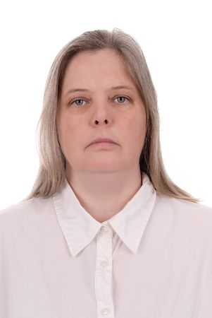 forty something: Forty something woman over a  white background