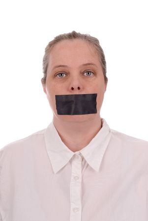 Woman with mouth taped closed over a white background