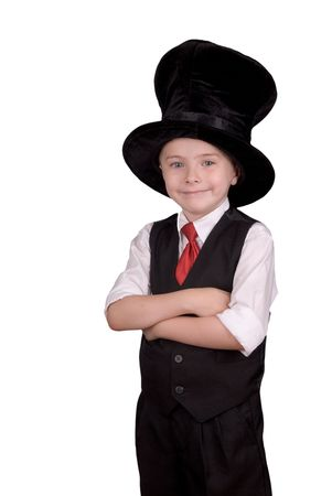soothsayer: Young boy dressed as a magician with a hat over a white background