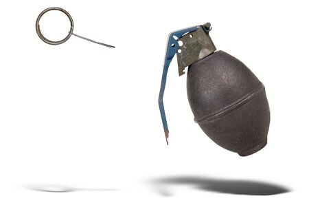 Hand grenade with pin pulled floating over a white background Imagens