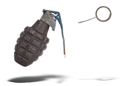 grenade: Hand grenade with pin pulled floating over a white background Stock Photo